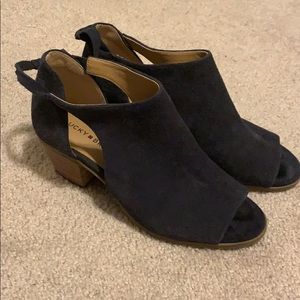 Lucky Brand navy suede open-toed booties